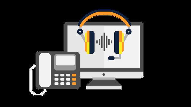 Illustration einer Telefonanlage mit Computer und Headset